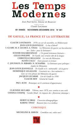 Les Temps Modernes n°661, Novembre-décembre 2010