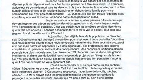 Copie de la lettre anonyme adressée au porteur du projet de poulailler