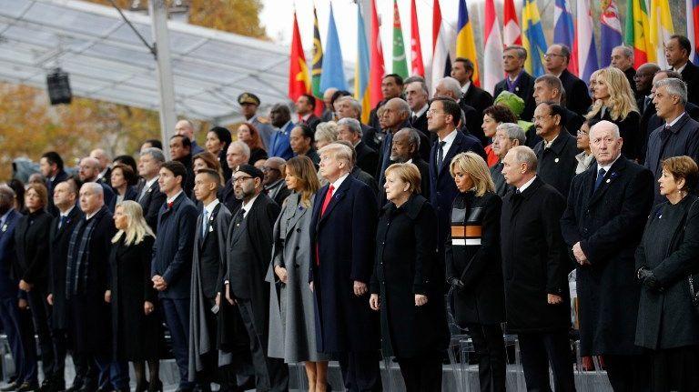 """Emmanuel Macron a appelé ses homologues à """"serment des nations de placer la paix plus haut que tout."""""""
