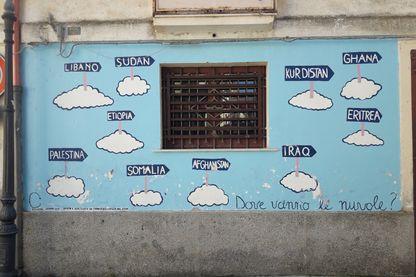 Peinture murale à Riace, Calabre, Italie.
