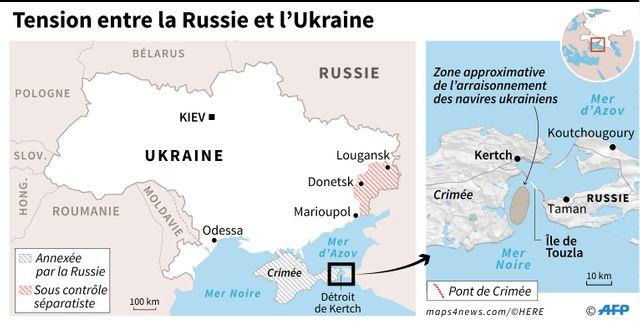 La mer d'Azov et la zone de l'incident naval de dimanche.