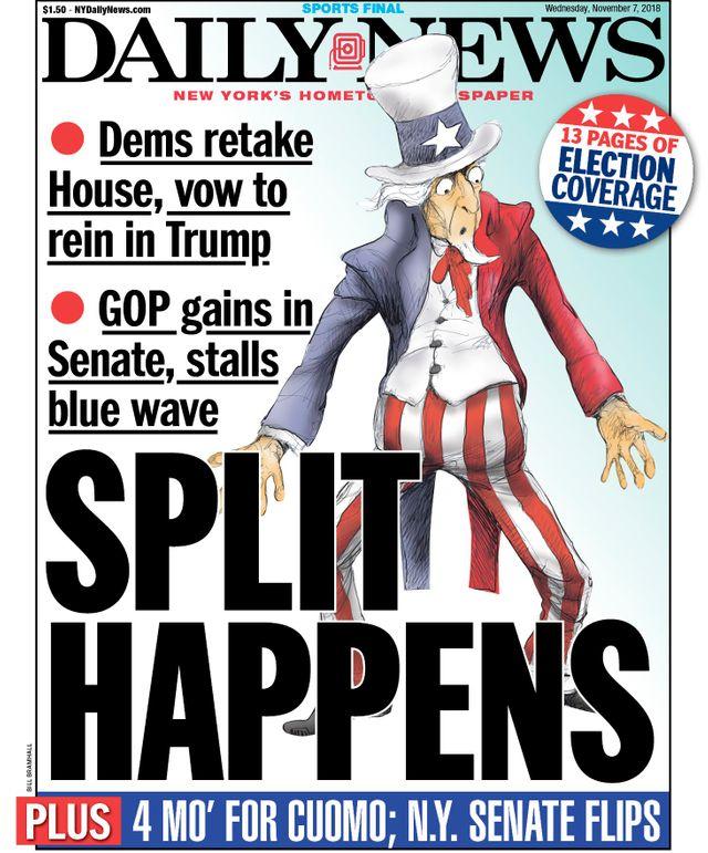 """Le Daily News titre sur """"la division"""" du pays, montrant un Oncle Sam perplexe"""
