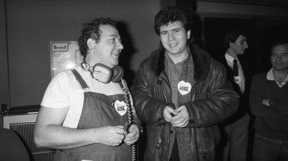 Décembre 1985 , Paris, Coluche et Daniel Balavoine  pour les Restos du cœur.