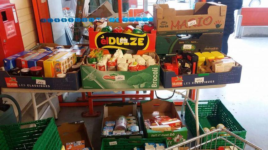 Produit d'une collecte dans un supermarché de Mathay (Doubs)