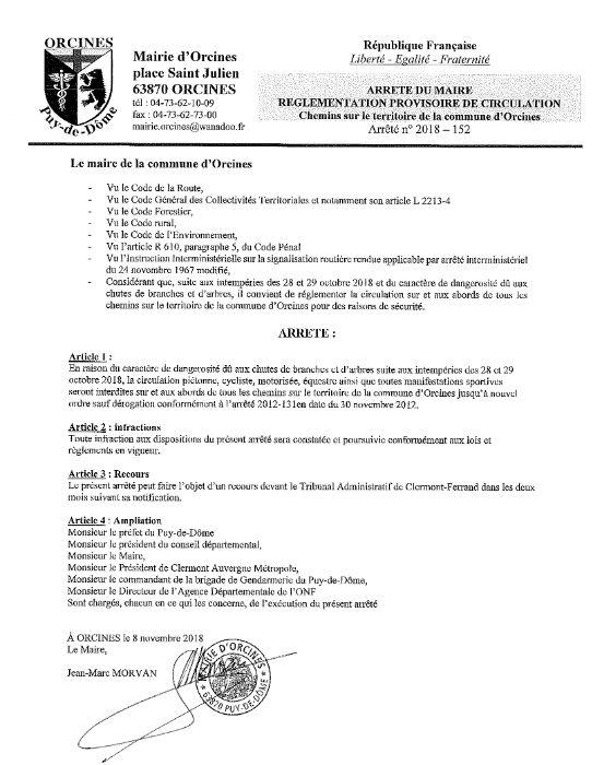 L'arrêté municipal réglementant la circulation sur les chemins communaux