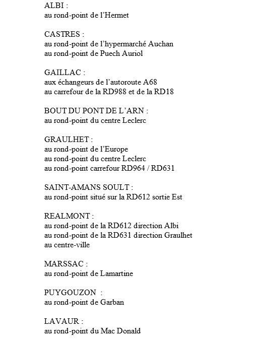 La liste des barrages filtrants et des ralentissements à 12h communiqués par la préfecture du Tarn