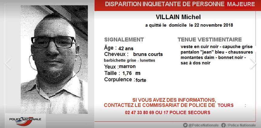 Michel Villain a quitté son domicile le jeudi 22 Novembre