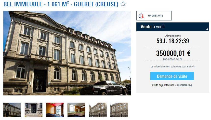 Le bâtiment de 40 bureaux à Guéret est mis en enchères à 350.000 euros