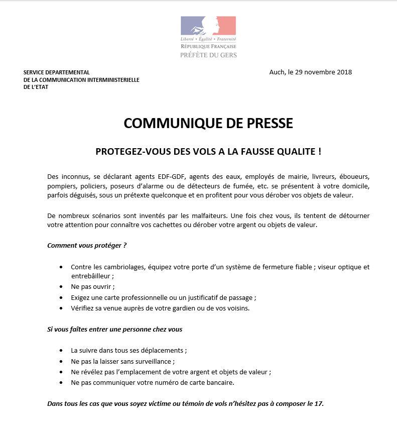 La préfecture du Gers détaille certains conseils.