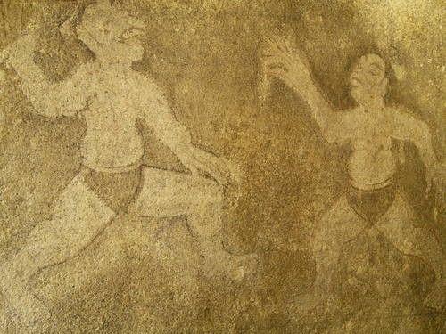 Représentation du Ssireum retrouvée dans l'ensemble des tombes de Koguryo