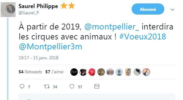 tweet de Philippe Saurel , janvier 2018