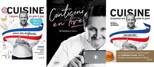 """""""Cuisine pour les enfants"""" (Editeur Chêne) / """"Conticini en live"""" (First Editions) / """"Cuisine - leçons en pas à pas"""" (Editeur Chêne)"""