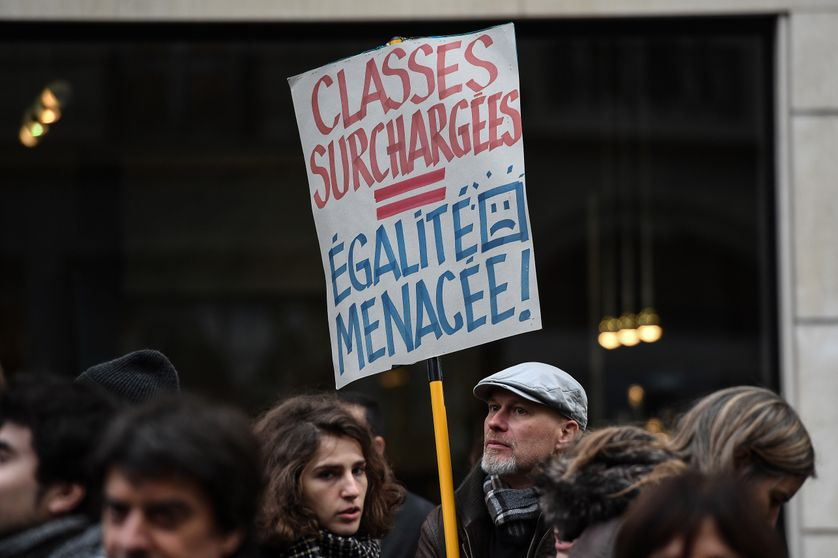 Manifestation à Paris contre les suppressions de postes dans l'Education Nationale (12/11/18)