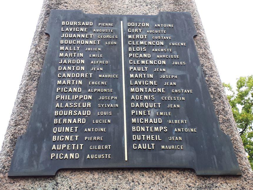 Sur le monument aux morts de Domeyrot, 37 noms de soldats sont gravés