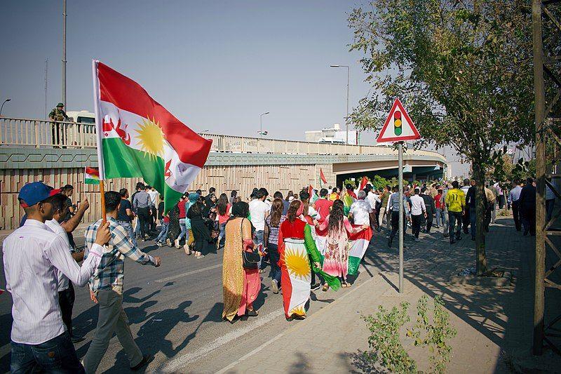 Pro-Kurdistan referendum and pro-Kurdistan independence rally at Franso Hariri Stadiu, Erbil, Kurdistan Region of Iraq, 22 September 2017.