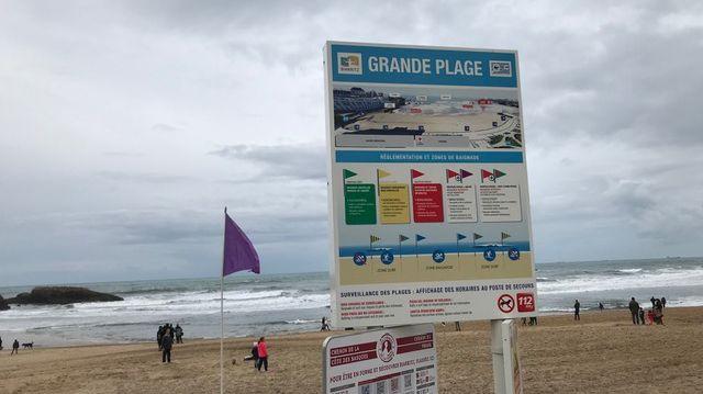 Drapeau violet sur la Grande Plage de Biarritz en raison d'un risque de pollution