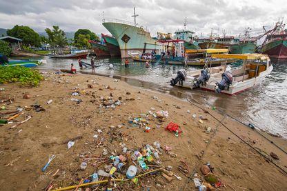 La pollution des sols, sur une plage du port Ambon-Laha dans les îles Moluques, en Indonésie.