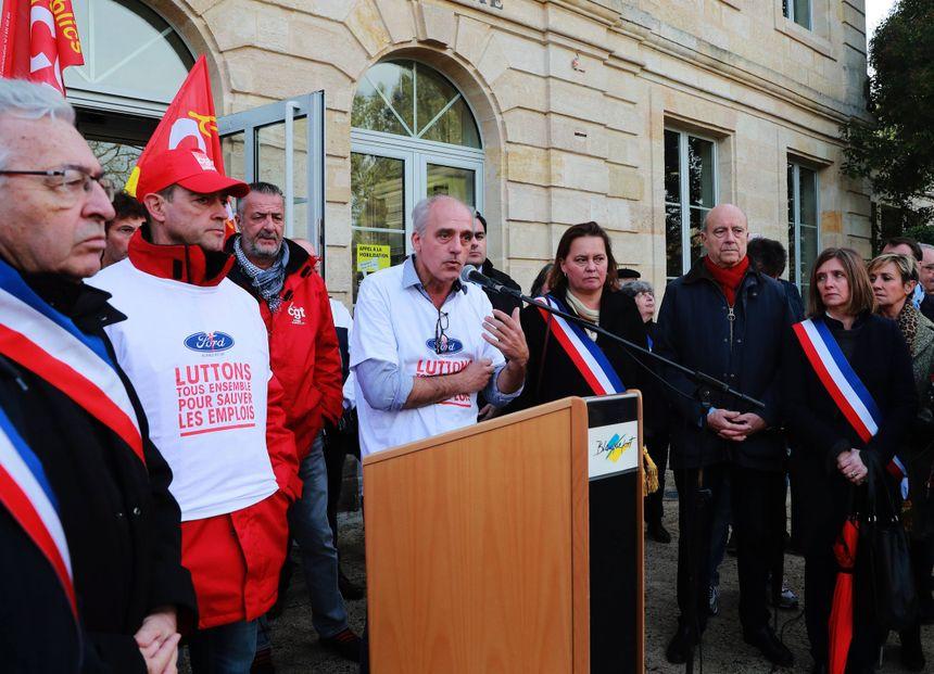 Lors de la manifestation samedi lors des prises de parole devant la mairie de Blanquefort