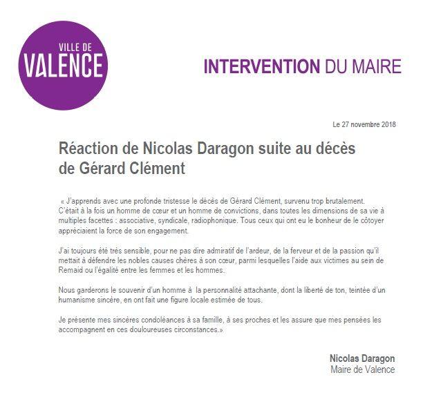 Communiqué du Maire de Valence