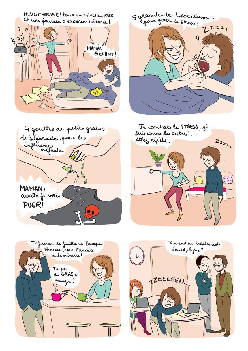 Une des BD extraites du livre qui traient avec humour du stress des parents.Elles sont signées de l'illustratrice MORGANE CARLIER