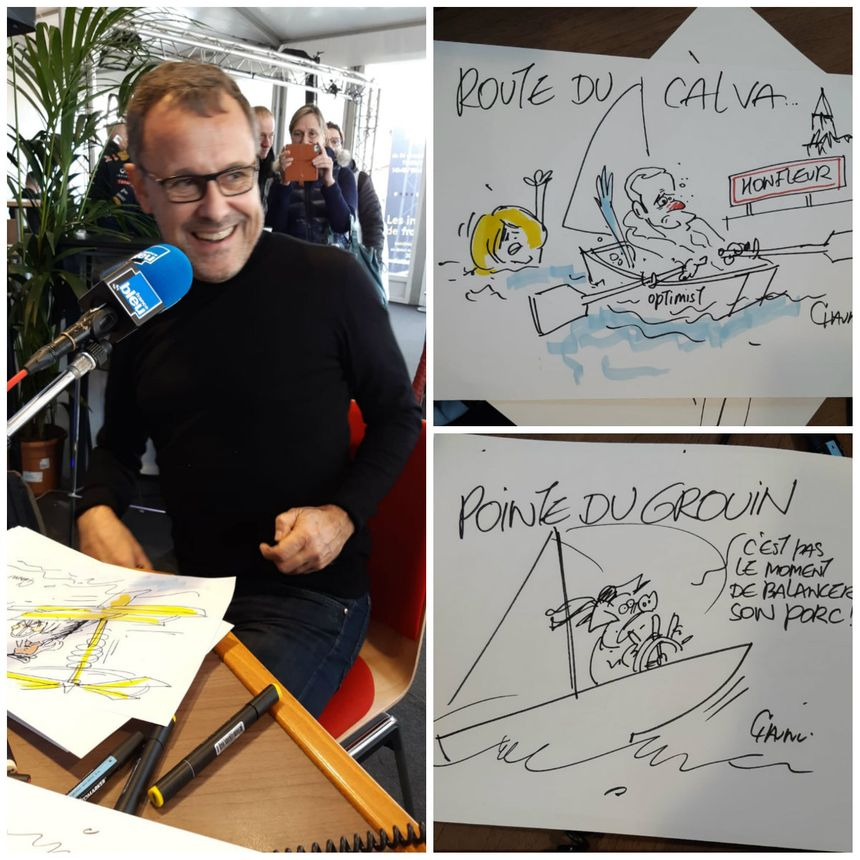Le dessinateur de presse Emmanuel Chaunu a fait un passage par le studio de France Bleu à Saint-Malo.