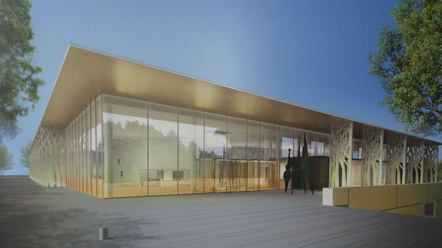 La future maison de la culture de Bourges, vue de la place Séraucourt.