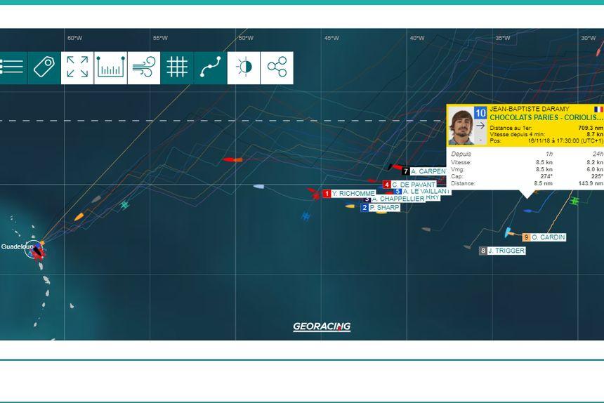 Sur la carte du parcours, Daramy est bien calé en 10° position des Class 40 (capture d'écran)