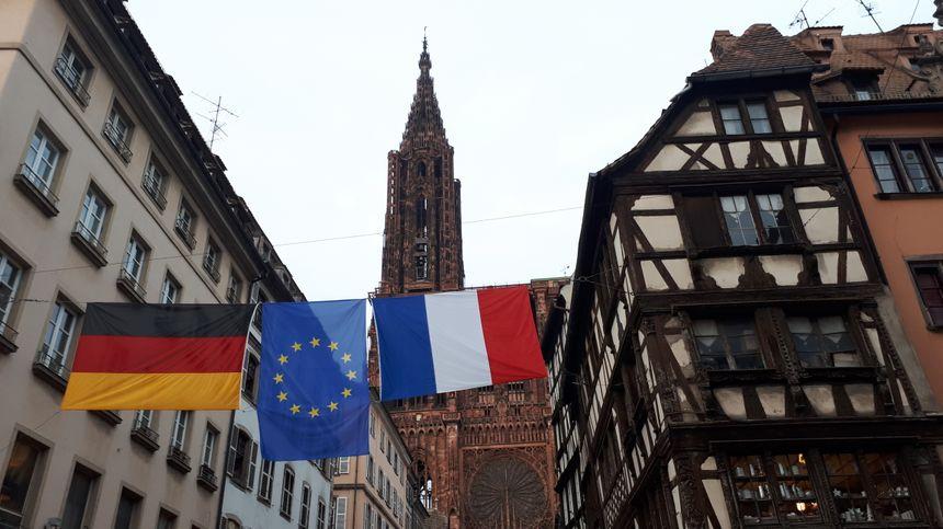 Devant la cathédrale de Strasbourg, samedi 3 novembre 2018, veille de l'arrivée d'Emmanuel Macron.