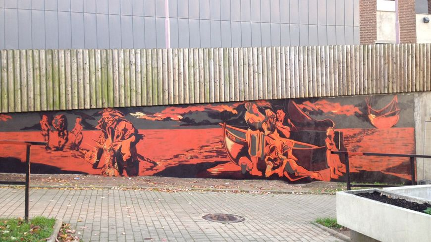 Une fresque réalisée par Thibault Papin sur un des murs du centre culturel Jacques Tati dans le quartier Pierre-Rollin à Amiens