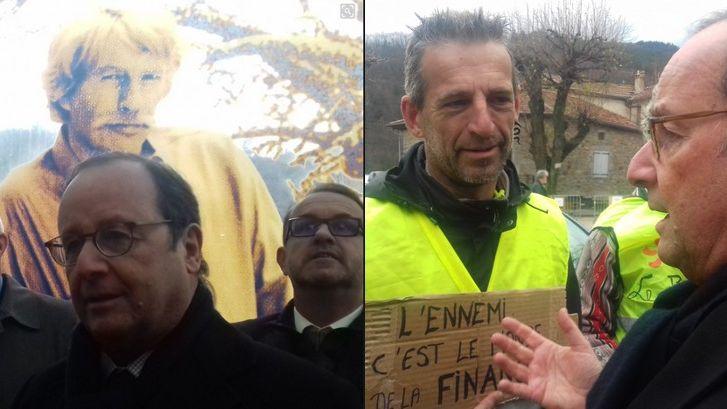 Francois Hollande à Antraigues le 29 novembre 2018