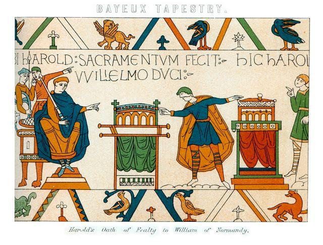 La tapisserie de Bayeux, longue de 70 mètres, retrace en images et textes la conquête du trône d'Angleterre par Guillaume le Conquérant, de 1064 jusqu'au dénouement de la bataille d'Hastings.
