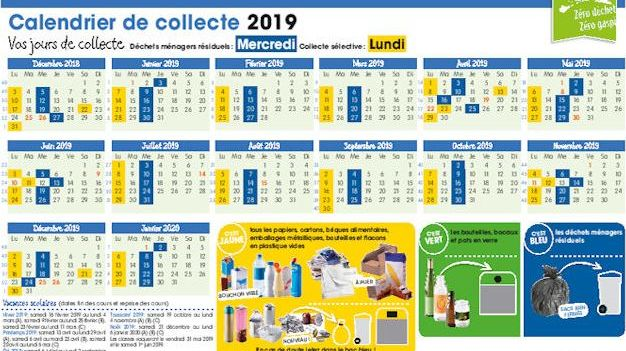 Les calendriers de collecte des déchets sont distribués gratuitement.