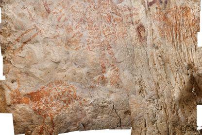 Panneau peint représentant un bovidé