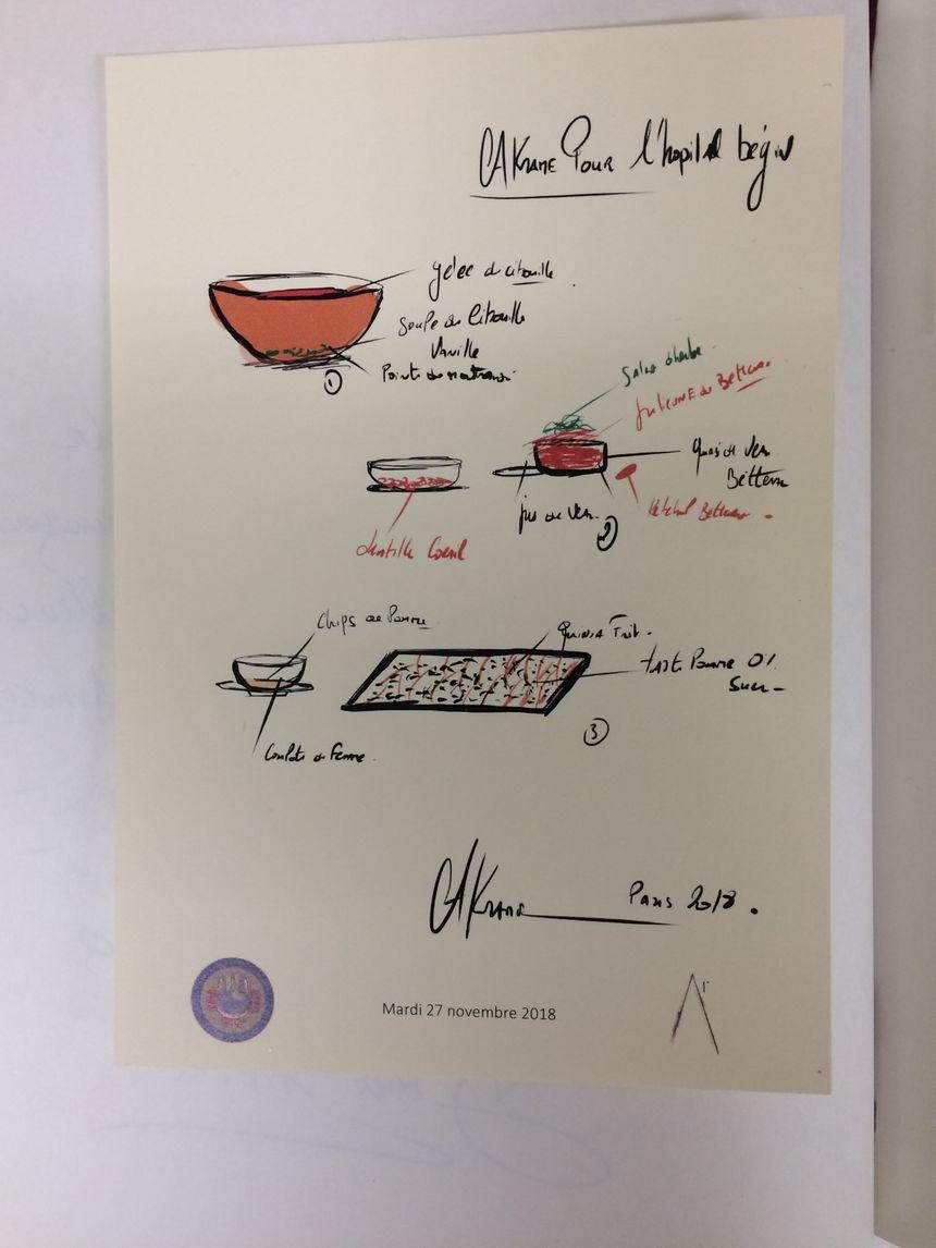 Le menu concocté par le chef étoilé Akrame Bennalal.