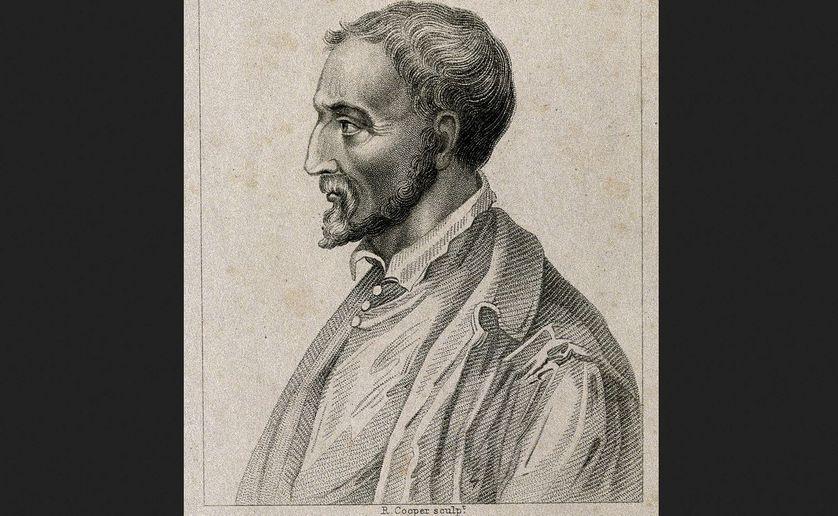 Le mathématicien, médecin, inventeur italien Girolamo Cardano / Jérôme Cardan (Pavie, 24 septembre 1501 - Rome, 21 septembre 1576) Stipple engraving by R. Cooper.