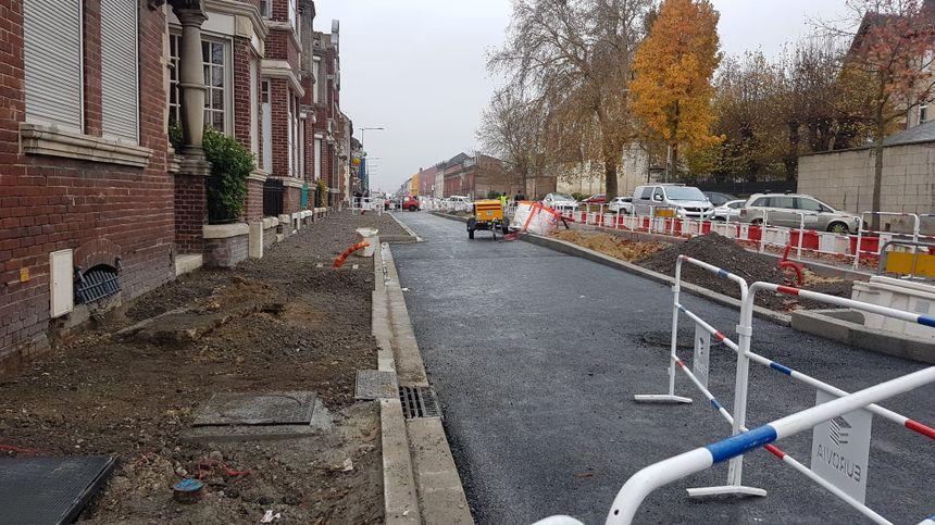 Les travaux du futur BHNS, Chaussée Jules Ferry à l'Est d'Amiens