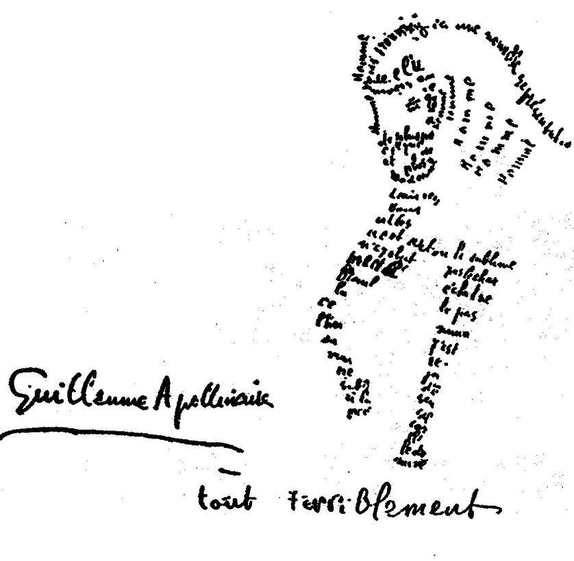 Guillaume Apollinaire, Calligramme composé pour le catalogue de l'exposition de Léopold Survage et Irène Lagut, 1917