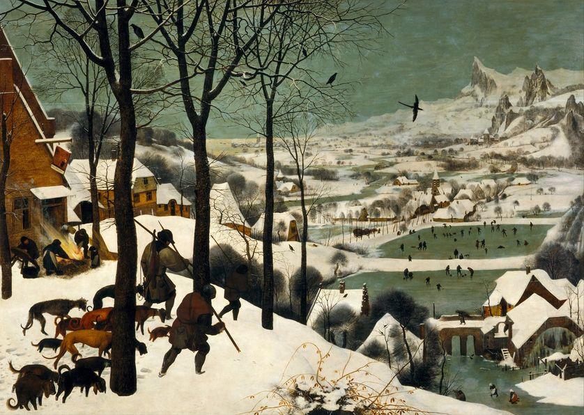 Les chasseurs dans la neige (1565, huile sur bois, 117 x 162 cm.)