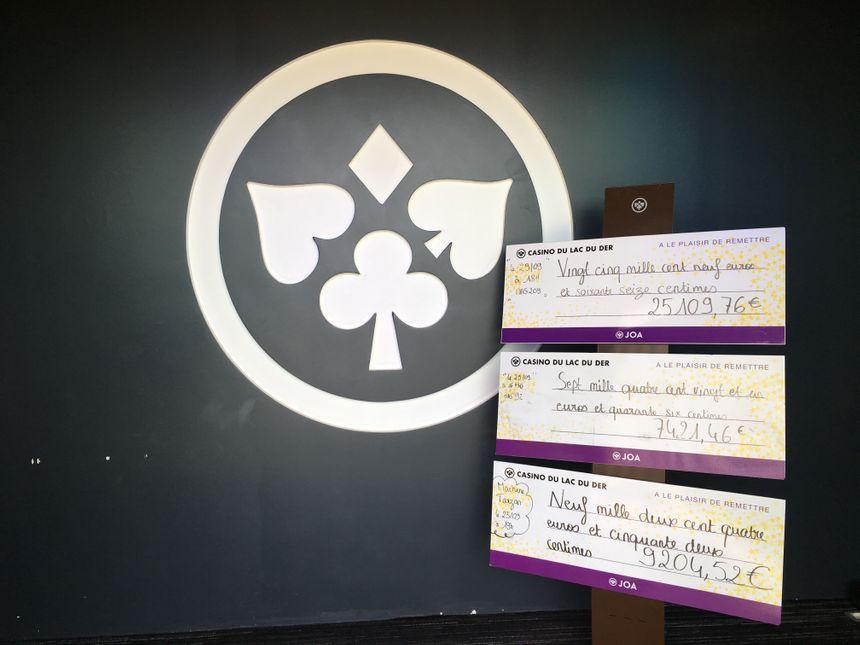 Les faux chèques représentants les vraies sommes gagnées à l'entrée du casino. La date et l'heure du gain, ainsi que le numéro de la généreuse machine sont mentionnés.