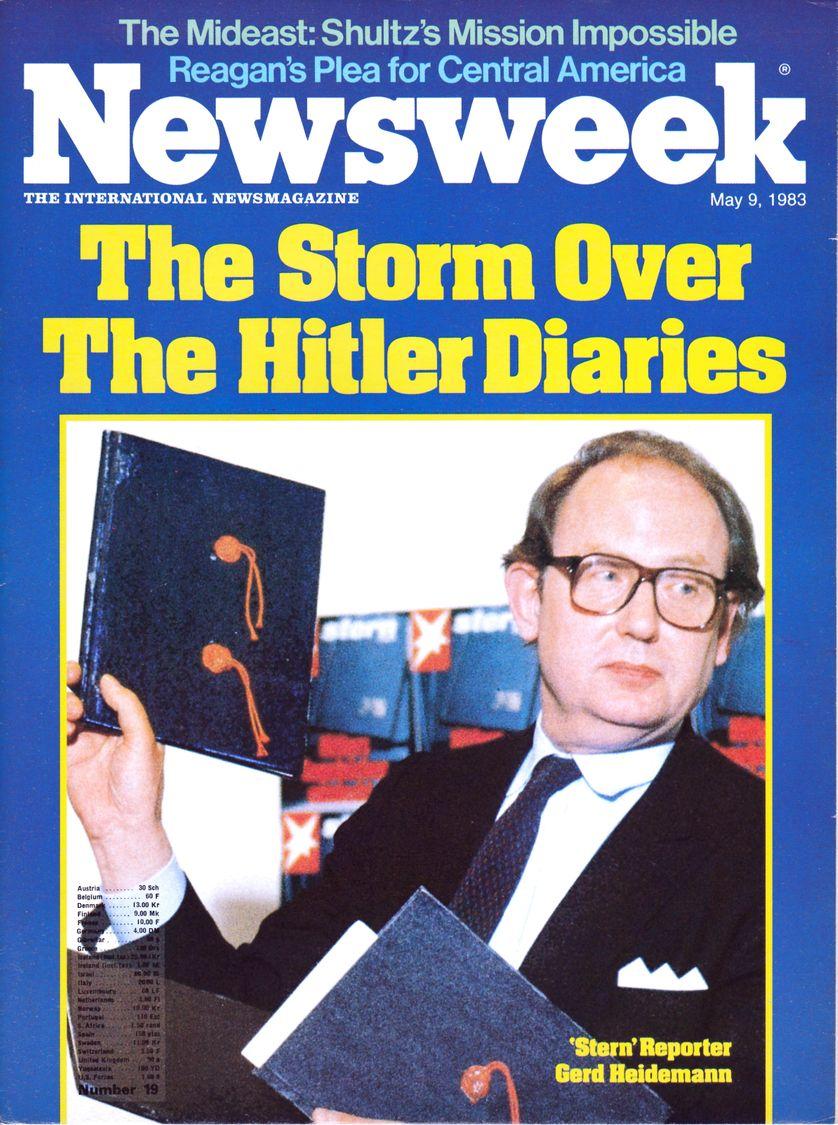 """Couverture de Newsweek du 9 mai 1983 """"Tempête sur les Carnets d'Hitler"""""""