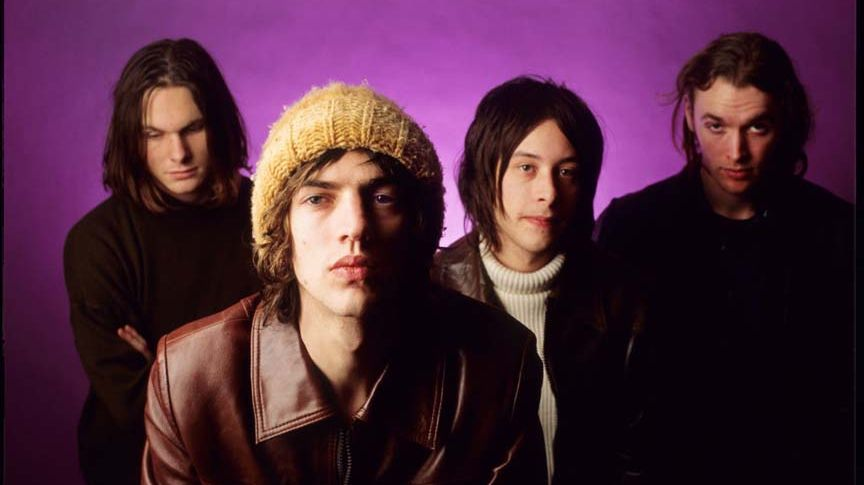 The Verve : Richard Ashcroft, Nick McCabe, Peter Salisbury, Simon Jones, Vaartkapoen à Bruxelles, Belgique, le 19/02/1994.