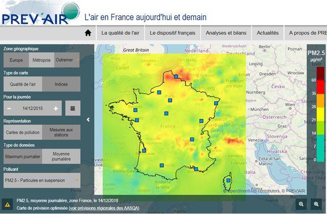 La simulation de Prev'air pour la qualité de l'air dans le nord de la France pour le 14 décembre (pollution de particules en suspension)