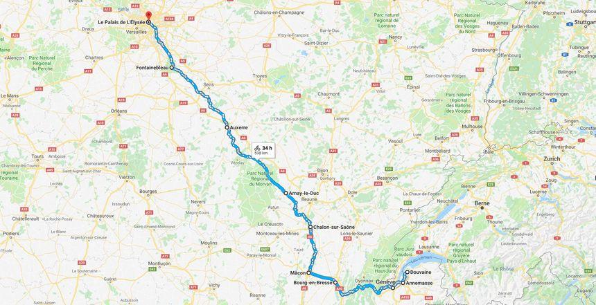 L'itinéraire initial prévu par Pascal Dibartolo