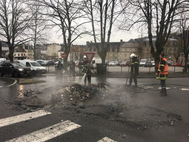 L'intervention des pompiers à Quimper