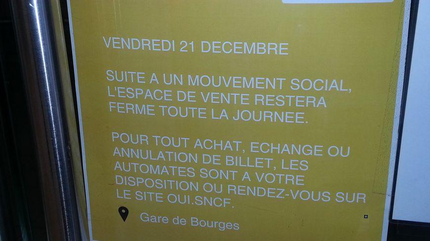 La grève en gares de Bourges et de Vierzon est prévue jusqu'au 7 janvier