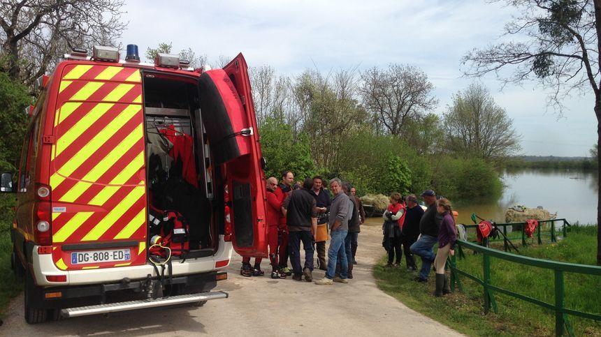 Chaque année les pompiers-plongeurs interviennent pour des sauvetages d'animaux, comme ici en avril 2016 à Perrigny-sur-l'Ognon.