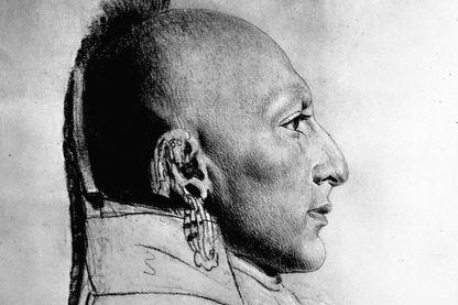 Croquis du chef des Indiens Osages par C.B.J. Ferret de Saint Menin