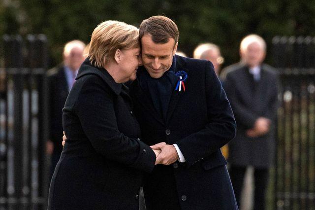 Angela Merkel et Emmanuel Macron lors des commémorations du centenaire de la fin de la première guerre mondiale