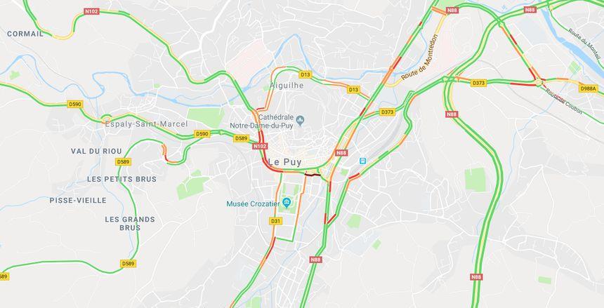 La circulation au Puy-en-Velay à 11h30.