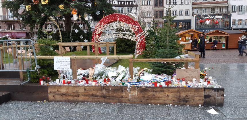 Place Kléber, au pied du grand sapin, les bougies déposées par les passants en mémoire des victimes
